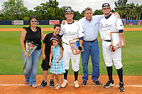 16 May 2010:  FIU's Junior Arrojo (13) and family and Tim Jobe (26, far right) pose for a photo on the field prior to the game as FIU honored its seniors.  The FIU Golden Panthers defeated the University of South Alabama Jaguars, 5-0, at University Park Stadium in Miami, Florida.