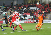 Fleetwood Town's Craig Morgan gets a header past AFC Wimbledon's Michael Collins<br /> <br /> Photographer Mick Walker/CameraSport<br /> <br /> Emirates FA Cup Third Round - Fleetwood Town v AFC Wimbledon - Saturday 5th January 2019 - Highbury Stadium - Fleetwood<br />  <br /> World Copyright © 2019 CameraSport. All rights reserved. 43 Linden Ave. Countesthorpe. Leicester. England. LE8 5PG - Tel: +44 (0) 116 277 4147 - admin@camerasport.com - www.camerasport.com
