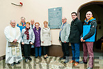 Plaque Unveiling: Pictured at the unveiling gf a plaque to commemorate the Chapel at Listowel community chapel being the last link remaining to the Listowel Workhouse were Fr. Hegarty, John Pierse, Mary O'Hanlon Rev. Joe Hardy, Sr. Margaret, Julie Gleeson, chairperson Listowel Tidy Towns, John Lucid, Mayor, Listowel Municiptal area, Cllr. Jimmy Moloney & sculptor Darren Enright.