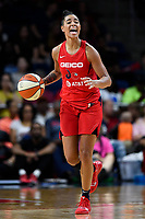 Washington, DC - September 8, 2019: Washington Mystics guard Natasha Cloud (9) calls out the offense during game between the Chicago Sky and Washington Mystics at the Entertainment and Sports Arena in Washington, DC. The Mystics locked up the #1 seed in the Playoffs by defeating the Sky 100-86. (Photo by Phil Peters/Media Images International)
