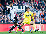\vl  (R)  fights for the ball with Ezequiel Garay of Valencia CF (L) during the La Liga 2017-18 match between Valencia CF and Villarreal CF at Estadio de Mestalla on 23 December 2017 in Valencia, Spain. Photo by Maria Jose Segovia Carmona / Power Sport Images