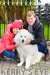 Ann and Donal Fitzgerald with Buddy Bawn at the blessing of the animals in the Friary on Sunday