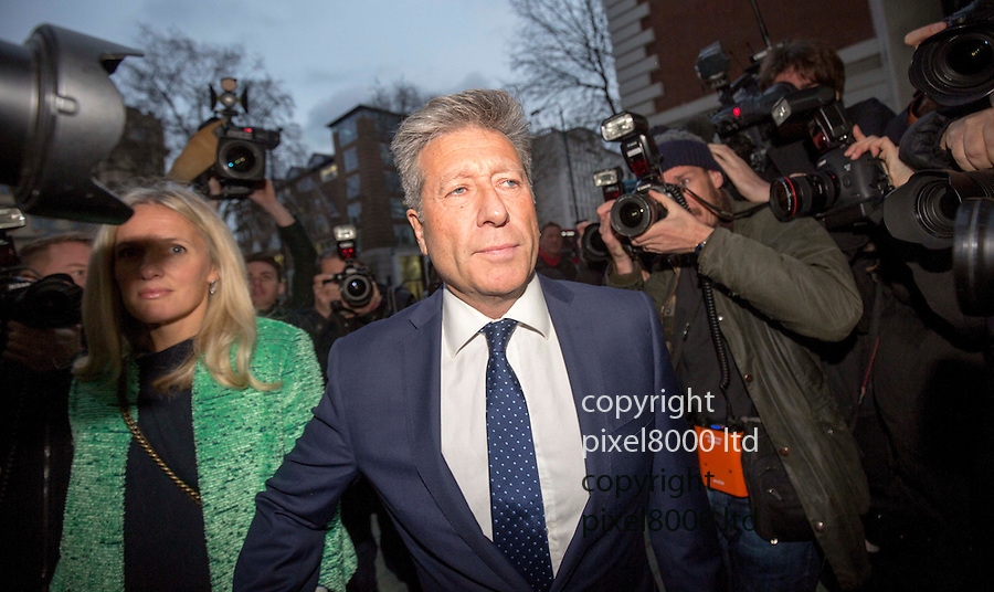 Pic shows Neil Fox arrives to hear his fate as verdict to be delivered at Westminster Magistrates Court today 14.12.15<br /> with his wife Vicky <br /> <br /> <br /> <br /> Pic by Gavin Rodgers/Pixel 8000 Ltd