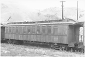Coach #256 built by Billmeyer &amp; Small in 1876 as coach #12.  Renumbered to #256 in 1886.<br /> D&amp;RGW  Salida, CO  Taken by Ward, Bert H. - 3/28/1940
