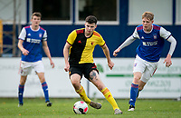 Ryan Cassidy of Watford u23 moves from Ryley Scott of Ipswich Town u23 during the Professional Development League match between Watford U23 and Ipswich Town U23 at Clarence Park, St Albans, England on 4 November 2019. Photo by Andy Rowland.