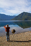 Lake Crescent, Olympic National Park, East Beach Road, still water, man with binoculars, Olympic Peninsula,  Washington State, Pacific Northwest, Clallam County,