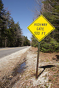 Highway Gate sign along Bear Notch Road in the White Mountains, New Hampshire USA during the spring months. This road is closed during the winter months