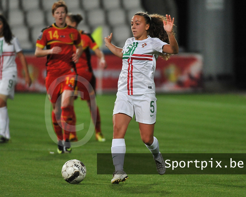 20131031 - ANTWERPEN , BELGIUM : Portugese Matilde Fidalgo pictured during the female soccer match between Belgium and Portugal , on the fourth matchday in group 5 of the UEFA qualifying round to the FIFA Women World Cup in Canada 2015 at Het Kiel stadium , Antwerp . Thursday 31st October 2013. PHOTO DAVID CATRY