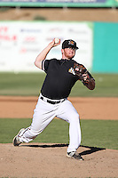 Tyler Davis (15) of the High Desert Mavericks pitches against the Rancho Cucamonga Quakes at Heritage Field on August 7, 2016 in Adelanto, California. Rancho Cucamonga defeated High Desert, 10-9. (Larry Goren/Four Seam Images)