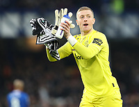 26th December 2019; Goodison Park, Liverpool, Merseyside, England; English Premier League Football, Everton versus Burnley; Everton goalkeeper Jordan Pickford returns applause from the Gwladys Street supporters prior to the kick off - Strictly Editorial Use Only. No use with unauthorized audio, video, data, fixture lists, club/league logos or 'live' services. Online in-match use limited to 120 images, no video emulation. No use in betting, games or single club/league/player publications