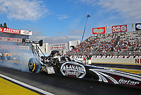 Feb 7, 2014; Pomona, CA, USA; NHRA top fuel dragster driver Shawn Langdon during qualifying for the Winternationals at Auto Club Raceway at Pomona. Mandatory Credit: Mark J. Rebilas-