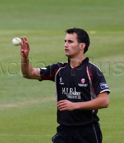 04.05.2012. Brit Oval, London, England.  ..Lewis Gregory of Somerset County Cricket..during the Clydesdale Bank Pro40 match between Surrey and Somerset  at The Brit Oval on May 04, 2012 in London, England.........................