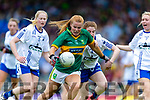 Andrea Murphy of Kerry in action against Kate McGrath Waterford during the TG4 Munster Senior Ladies Football Championship semi-final match between Kerry and Waterford at Fitzgerald Stadium in Killarney on Sunday.