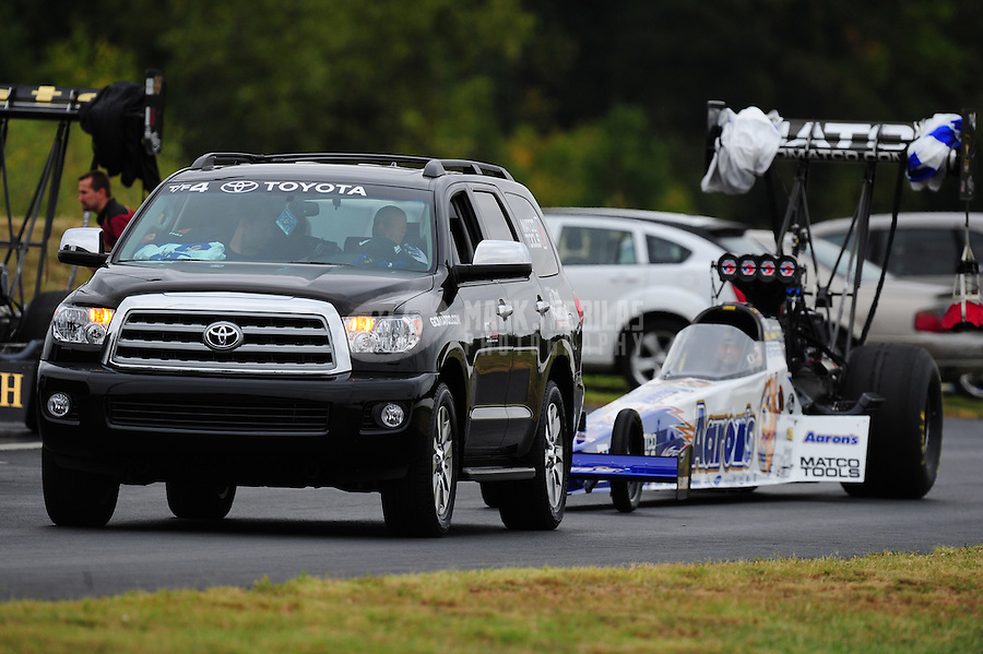 Sept. 17, 2011; Concord, NC, USA: NHRA top fuel dragster driver Antron Brown during qualifying for the O'Reilly Auto Parts Nationals at zMax Dragway. Mandatory Credit: Mark J. Rebilas-US PRESSWIRE