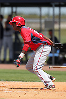 Washington Nationals shortstop Diomedes Eusebio #50 during an extended Spring Training game against the Detroit Tigers at the Carl Barger Training Complex on April 30, 2012 in Viera, Florida.  (Mike Janes/Four Seam Images)