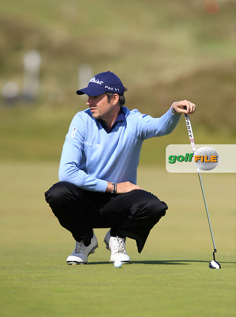 Simon Thornton (IRL) on the 8th green during Round 1 of the 2015 Dubai Duty Free Irish Open, Royal County Down Golf Club, Newcastle Co Down, Northern Ireland. 28/05/2015<br /> Picture Thos Caffrey, www.golffile.ie