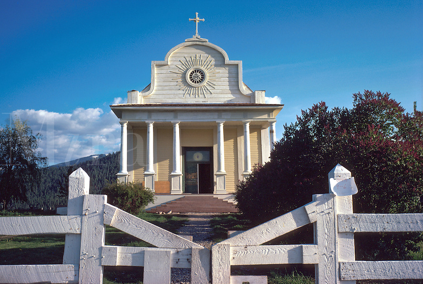 Front facade of historic Cataldo Mission church, the oldest building in Idaho. religions, Christian, Catholic, landmark, architecture. Idaho, Northern Idaho.