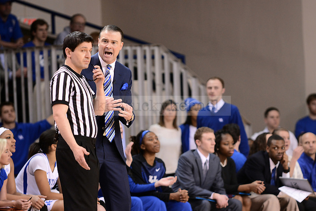 Kentucky Head Coach Matthew Mitchell yells at the referee during the second half of the Kentucky Hoops versus Tennessee Vols at Memorial Coliseum in Lexington, Ky., on Thursday, January 29, 2015. Kentucky loses 72-73. Photo by Caleb Gregg | Staff