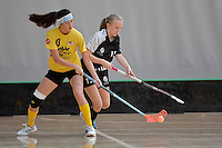 Malaysia's Yen Yen Goh and New Zealand's Marie Sundin in action during the World Floorball Championships 2017 Qualification for Asia Oceania Region - New Zealand v Malaysia at ASB Sports Centre , Wellington, New Zealand on Saturday 4 February 2017.<br /> Photo by Masanori Udagawa<br /> www.photowellington.photoshelter.com.
