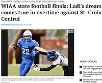 Lodi's Jacob Heyroth escapes a tackle in the first quarter of the WIAA Division 4 state high school championship football game between Lodi and St. Croix Central on Thursday, 11/16/17, at Camp Randall Stadium in Madison, Wisconsin | Wisconsin State Journal article front page Sports 11/17/17 and online at http://host.madison.com/wsj/sports/high-school/football/photos-lodi-beats-hammond-st-croix-central-in-overtime-in/collection_5efec5de-3e7a-5c03-b77d-8741c0c585aa.html