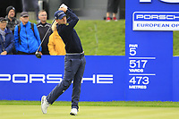 Bernd Wiesberger (AUT) on the 18th tee during the 1st round at the Porsche European Open, Green Eagles Golf Club, Luhdorf, Winsen, Germany. 05/09/2019.<br /> Picture Fran Caffrey / Golffile.ie<br /> <br /> All photo usage must carry mandatory copyright credit (© Golffile | Fran Caffrey)