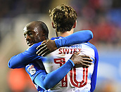 31st October 2017, Madejski Stadium, Reading, England; EFL Championship football, Reading versus Nottingham Forest; Sone Aluko of Reading congratulates John Swift of Reading on his second goal