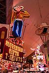 Neon from the Neon Museum near Fremont Street at night, Las Vegas..Vegas Vic & Sassy Sally