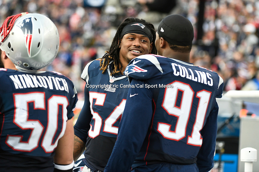 November 23, 2014 - Foxborough, Massachusetts, U.S.- New England Patriots outside linebacker Dont'a Hightower (54) talks to outside linebacker Jamie Collins (91)during the NFL game between the Detroit Lions and the New England Patriots held at Gillette Stadium in Foxborough Massachusetts. The Patriots defeated the Lions 34-9. Eric Canha/CSM