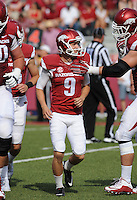 NWA Democrat-Gazette/ANDY SHUPE<br /> Arkansas' Cole Hedlund (9) celebrates field goal against University of Texas at El Paso Saturday, Sept. 5, 2015, during the third quarter of play in Razorback Stadium in Fayetteville. Visit nwadg.com/photos to see more from the game.