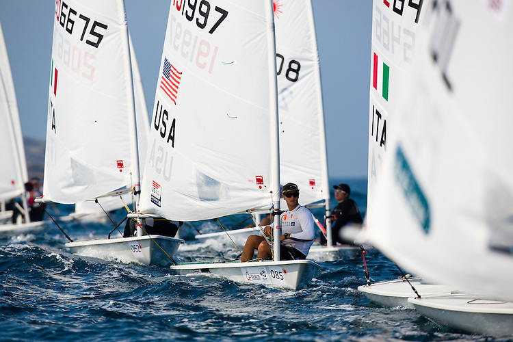 20140912, Santander, Spain: 2014 ISAF SAILING WORLD CHAMPIONSHIPS - More than 1,250 sailors in over 900 boats from 84 nations will compete at the Santander 2014 ISAF Sailing World Championships from 8-21 September 2014. The best sailing talent will be on show and as well as world titles being awarded across ten events 50% of Rio 2016 Olympic Sailing Competition places will be won based on results in Santander. Boat class and Sailor(s): Laser - USA 191997 - Luke MULLER. Photo: Mick Anderson/SAILINGPIX.DK.