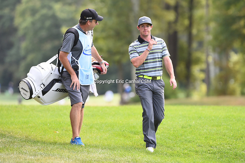 August 29, 2014 -  Norton, Mass. - Rory McIlroy walks on the 7th fairway during the first round of the PGA Deutsche Bank Championship held at the Tournament Players Club in Norton Massachusetts. Eric Canha/CSM