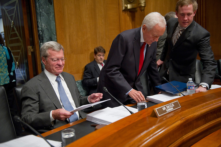 "WASHINGTON, DC - July 07: Chairman Max Baucus, D-Mont., and ranking member Orrin G. Hatch, R-Utah, take their seats for the Senate Finance ""mock"" markup of pending draft free trade agreements with Korea, Colombia and Panama. (Photo by Scott J. Ferrell/Congressional Quarterly)"