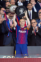 FC Barcelona Andres Iniesta receive the cup during King's Cup Finals match between Sevilla FC and FC Barcelona at Wanda Metropolitano in Madrid, Spain. April 21, 2018. (ALTERPHOTOS/Borja B.Hojas)