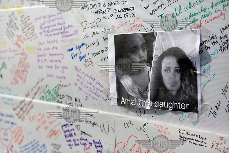 Messages and posters of the missing on a memorial wall where residents from the area surrounding Grenfell Tower in North Kensington have been writing messages following the devastating fire that swept up the 24 storey building in the early hours of Wednesday, 14th June killing at least 79 people and leaving many more without homes or possessions.
