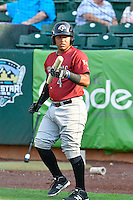 Meibrys Viloria (4) of the Idaho Falls Chukars waits to bat during the game against the Ogden Raptors in Pioneer League action at Lindquist Field on September 3, 2016 in Ogden, Utah. The Chukars defeated the Raptors 3-0. (Stephen Smith/Four Seam Images)
