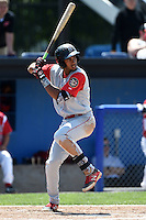 Brooklyn Cyclones shortstop Amed Rosario (1) at bat during a game against the Batavia Muckdogs on August 10, 2014 at Dwyer Stadium in Batavia, New York.  Brooklyn defeated Batavia 5-2.  (Mike Janes/Four Seam Images)