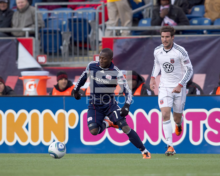 New England Revolution forward Sainey Nyassi (17) at midfield. In a Major League Soccer (MLS) match, the New England Revolution defeated DC United, 2-1, at Gillette Stadium on March 26, 2011.