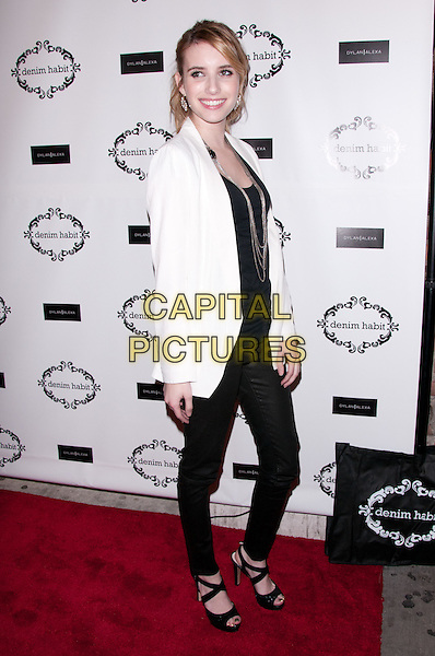 Emma Roberts.Denim Habit' Store Opening, New York City, NY, USA.  .October 18th, 2011.full length black jeans denim top white blazer side silver necklaces leather .CAP/ADM/CS.©Christopher Smith/AdMedia/Capital Pictures.