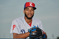 Reading Fightin Phils pitcher Adonis Medina (41) poses for a photo before an Eastern League game against the Akron RubberDucks on June 4, 2019 at Canal Park in Akron, Ohio.  Akron defeated Reading 8-5.  (Mike Janes/Four Seam Images)