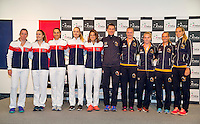 Arena Loire,  Trélazé,  France, 14 April, 2016, Semifinal FedCup, France-Netherlands, Draw,  French and Dutch (R) team<br /> Photo: Henk Koster/Tennisimages