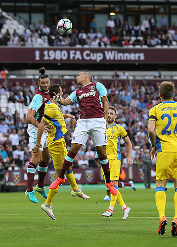 04.08.2016. Olympic Stadium, London, England. Europa League Football Qualifying 2nd Leg. West Ham versus NK Domzale. West Ham United Striker Andy Carroll heads into the NK Domzale area from a corner