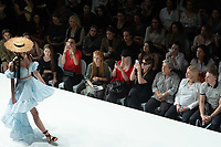 Model presents a creation of Hungarian fashion designer Nora Sarman during a fashion show at the Marie Claire Fashion Days in Budapest, Hungary on Nov. 4, 2018. ATTILA VOLGYI