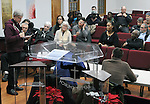 Fr. Frank Alagna, of Holy Cross Church, asking questions of, Kingston Mayor, Steve Noble and Police Chief Egidio F. Tinti, at a Community Policing Forum, sponsored by the Kingston Branch of ENJAN and the Ministers Alliance of Ulster Co., held at New Progressive Baptist Church, on Hone Street in Kingston, NY, on Tuesday, December 13, 2016. Photo by Jim Peppler; Copyright Jim Peppler 2016.