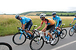 Race leader World Champion Alejandro Valverde (ESP) Movistar Team shares a joke with José Joaquín Rojas (ESP) long time team mate and friend during Stage 2 of the Route d'Occitanie 2019, running 187.7km from Labruguière to Martres-Tolosane, France. 21st June 2019<br /> Picture: Colin Flockton | Cyclefile<br /> All photos usage must carry mandatory copyright credit (© Cyclefile | Colin Flockton)