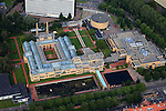 Nederland, Zuid-Holland, Den Haag, 15-07-2012; De Stadhouderslaan met het gele Gemeentemuseum (Berlage) en het Omniversum. The Gemeentemuseum and Omniversum (yellow buildings) . luchtfoto (toeslag), aerial photo (additional fee required).foto/photo Siebe Swart