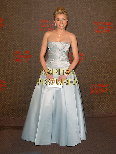 SARAH CHALKE.The 2nd Annual Louis Vuitton United Cancer Front Gala held at Universal Studios, Stage 24 in Universal City, California .November 8th, 2004.full length, light blue silk satin strapless gown, white clutch purse.www.capitalpictures.com.sales@capitalpictures.com.©Debbie Van Story/Capital Pictures