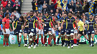 Clermont Auvergne after they score their first try<br /> <br /> Photographer Rachel Holborn/CameraSport<br /> <br /> European Rugby Champions Cup Final - Clermont Auvergne v Saracens - Saturday 13th May 2017 - BT Murrayfield, Edinburgh<br /> <br /> World Copyright &copy; 2017 CameraSport. All rights reserved. 43 Linden Ave. Countesthorpe. Leicester. England. LE8 5PG - Tel: +44 (0) 116 277 4147 - admin@camerasport.com - www.camerasport.com