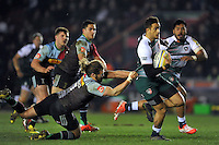 Peter Betham of Leicester Tigers is tackled by Luke Wallace of Harlequins. Aviva Premiership match, between Harlequins and Leicester Tigers on February 19, 2016 at the Twickenham Stoop in London, England. Photo by: Patrick Khachfe / JMP