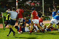 Italy U20's Michele Mancini Parri scores the opening try<br /> <br /> Photographer Richard Martin-Roberts/CameraSport<br /> <br /> Six Nations U20 Championship Round 4 - Wales U20s v Italy U20s - Friday 9th March 2018 - Parc Eirias, Colwyn Bay, North Wales<br /> <br /> World Copyright &not;&copy; 2018 CameraSport. All rights reserved. 43 Linden Ave. Countesthorpe. Leicester. England. LE8 5PG - Tel: +44 (0) 116 277 4147 - admin@camerasport.com - www.camerasport.com