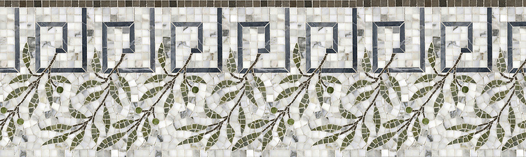 "12 1/8"" Cyrano border, a hand-cut stone mosaic, shown in polished Calacatta Tia, Bardiglio, Chartreuse, Verde Luna, honed Montevideo."